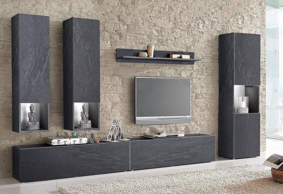 tecnos wohnwand 6 tlg online kaufen otto. Black Bedroom Furniture Sets. Home Design Ideas