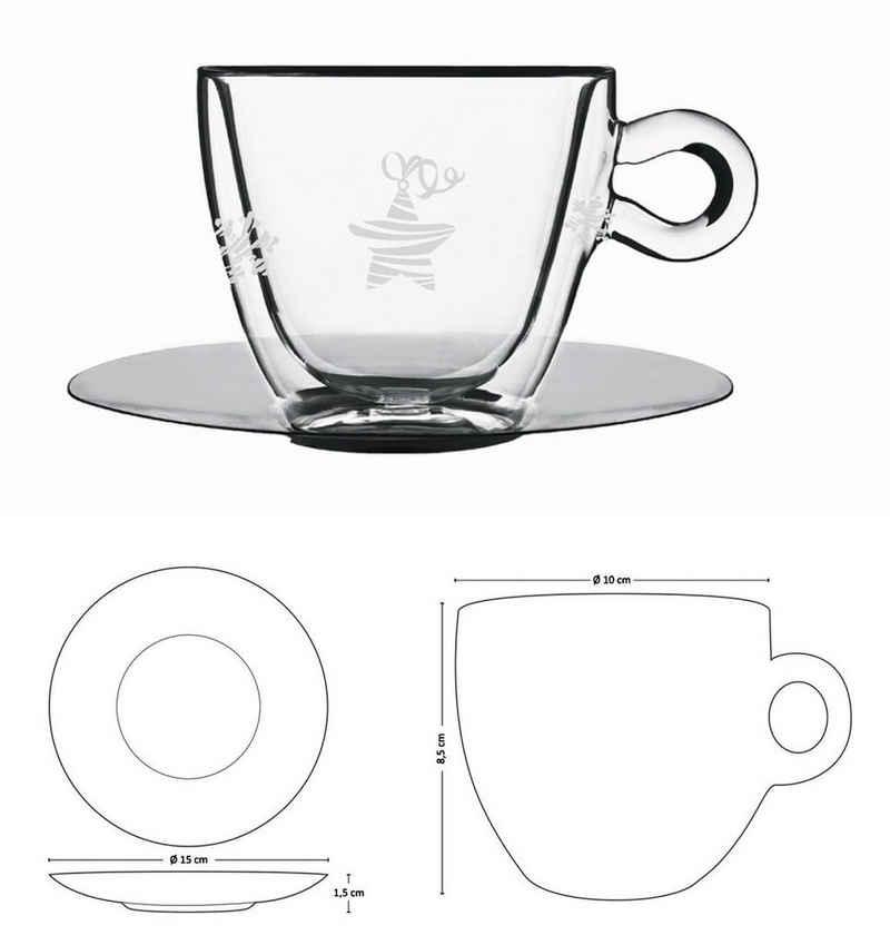 Luigi Bormioli Tasse »Weihnachtstasse Kaffee Tee Cappuccino Tasse Thermo Glastasse Luigi Bormioli Auswahl: Groß_300ml«, Glas