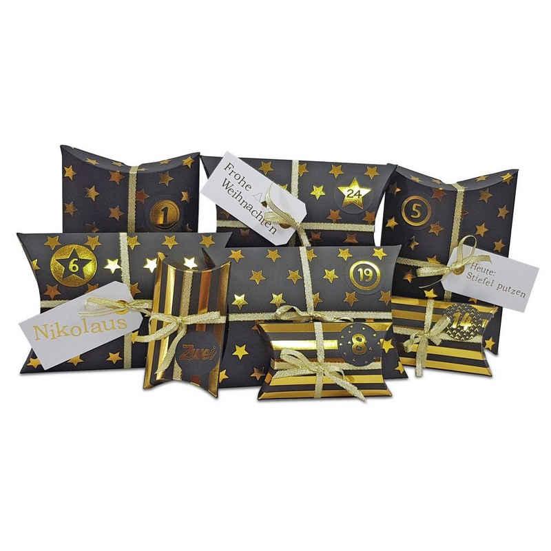 Frau WUNDERVoll Kalender zum Selbstbasteln »Adventskalender HoHoHo Metallic Farbe schwarz«