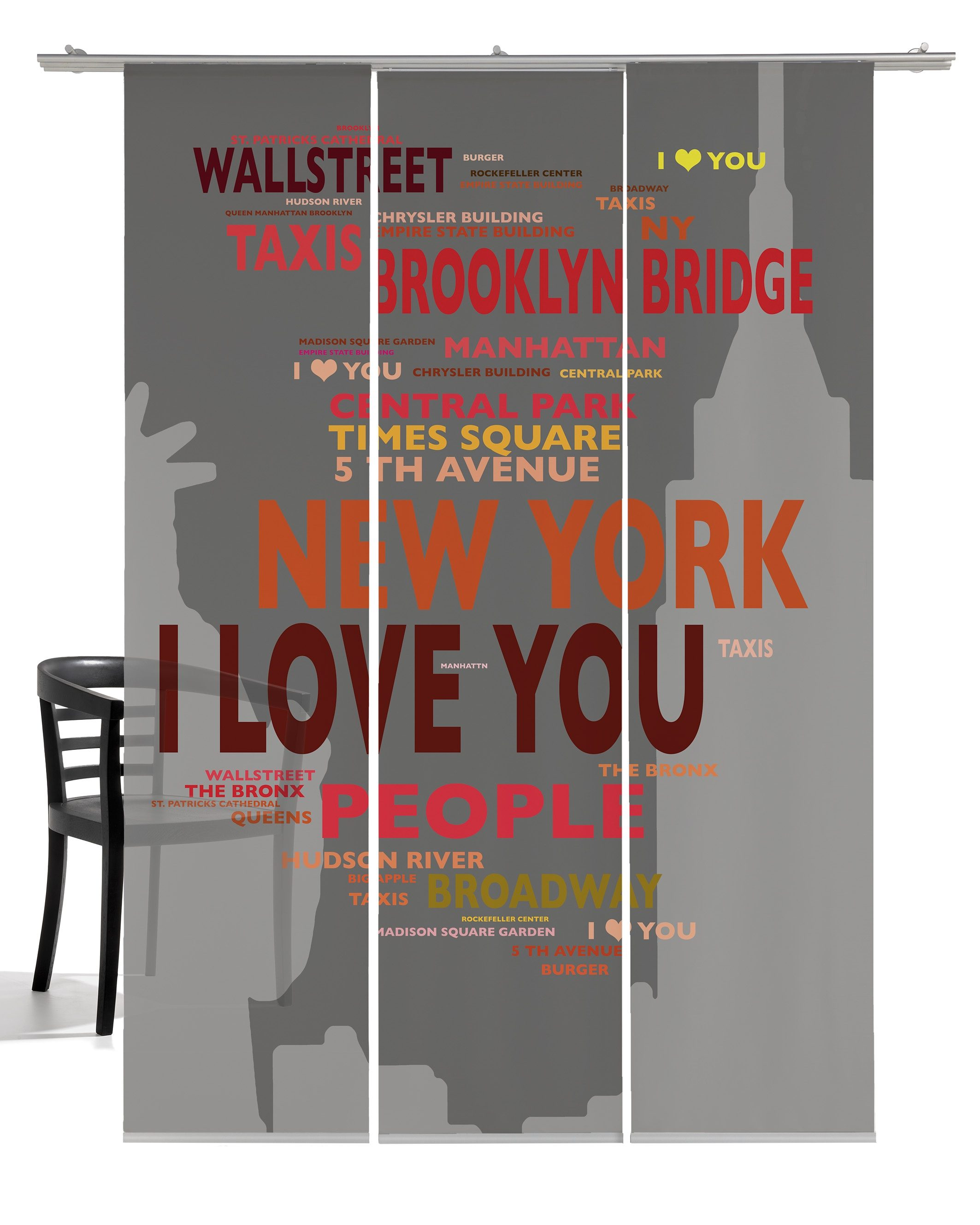 Schiebegardine, Emotiontextiles, »Big Apple«, mit Klettband (3 Stück mit Zubehör)