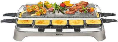 Tefal Raclette Pierrade PR457B, 10 Raclettepfännchen, 1350 W, Grill-Platte aus Stein