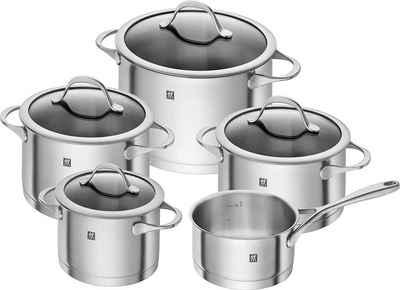 Zwilling Topf-Set »ESSENCE«, Edelstahl 18/10, (9 teilig, 4 Kochtöpfe mit Deckel und 1 Kasserolle ohne Deckel), Sehr gute Wärmespeicherung und -verteilung