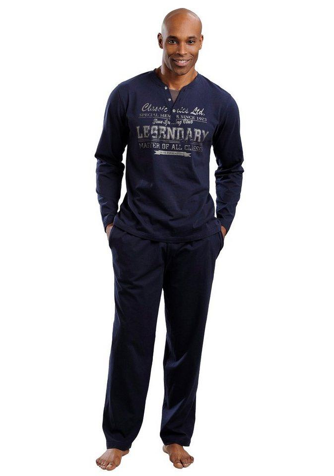 H.I.S Jersey-Pyjama lang in 1x marine