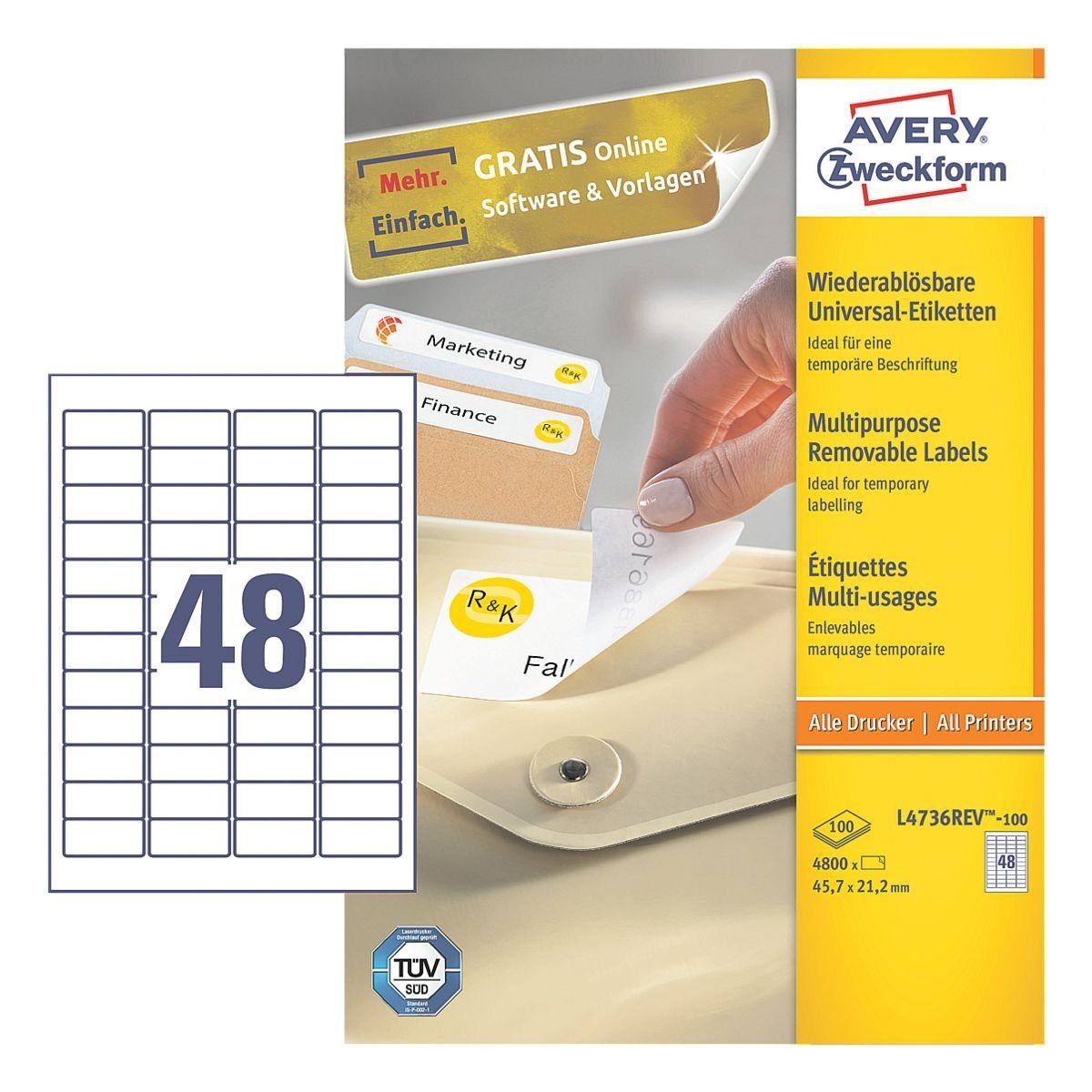 Avery Zweckform 4800er-Pack Universal Klebeetiketten »L4736REV-100«