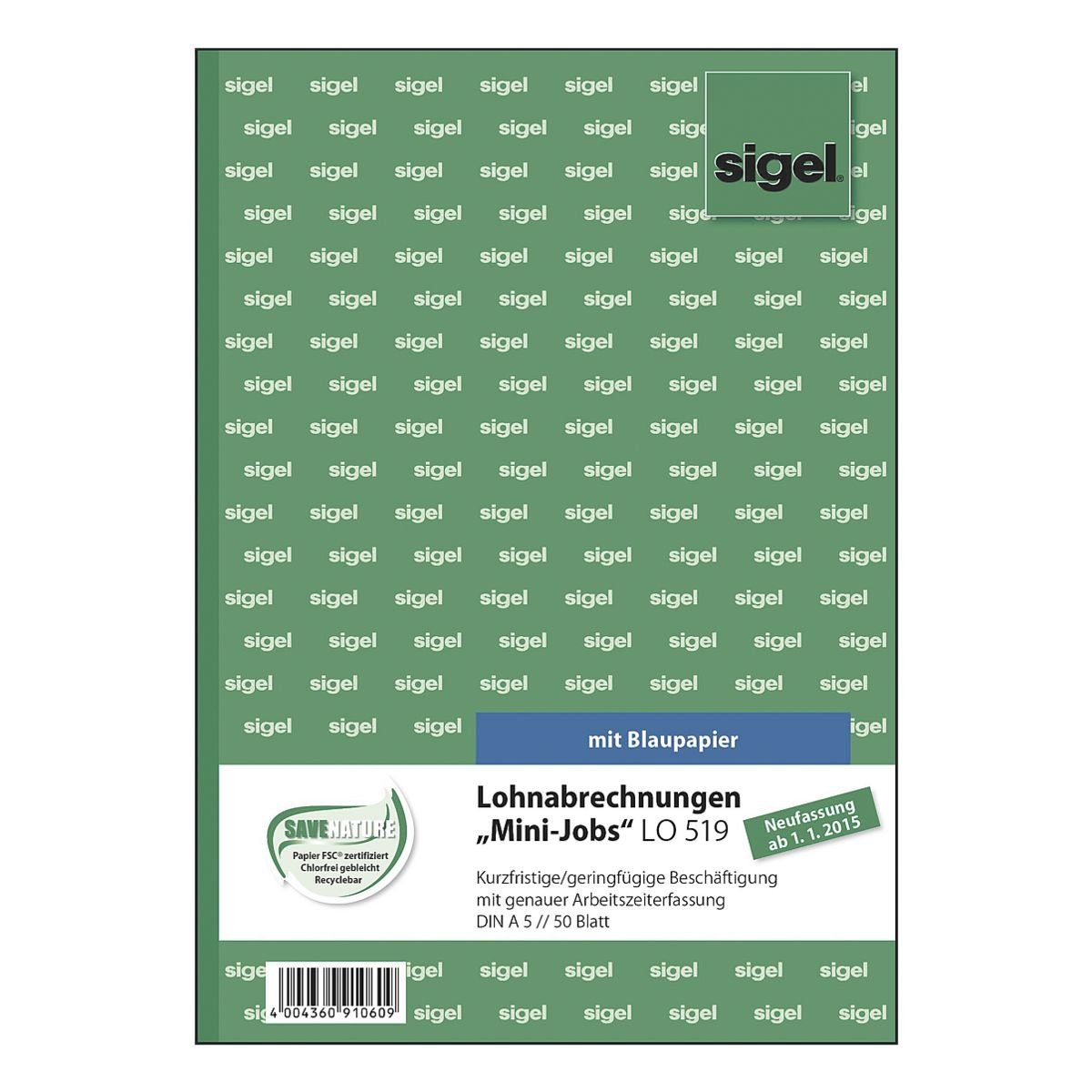 Sigel Formularbuch LO519 »Lohnabrechnung Mini-Job«