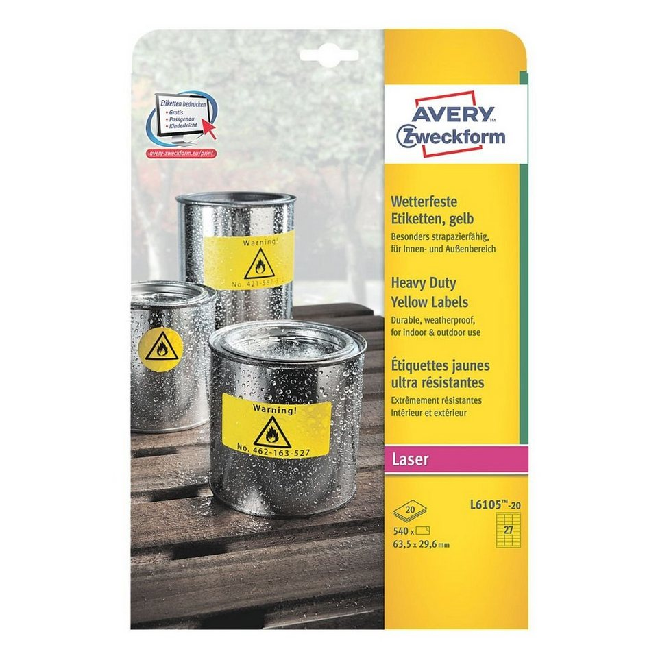 Avery Zweckform 540er-Pack Folien-Etiketten »L6105-20« in 16610