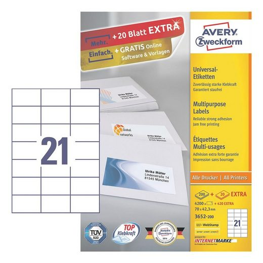 ZWECKFORMAVERY 4620er-Pack Universal Klebeetiketten »3652-200«