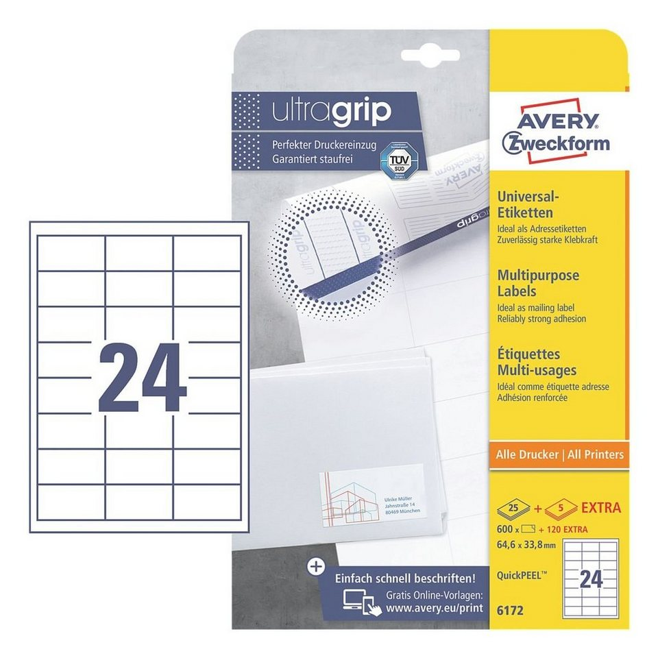 Avery Zweckform 600er-Pack Universal Klebeetiketten »6172« in 16600