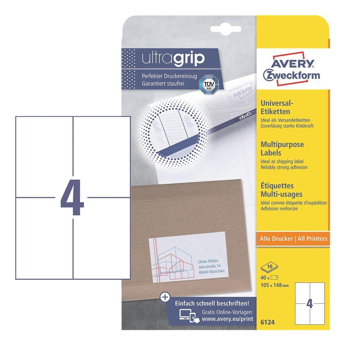 Avery Zweckform 40er-Pack Universal Klebeetiketten »6124«