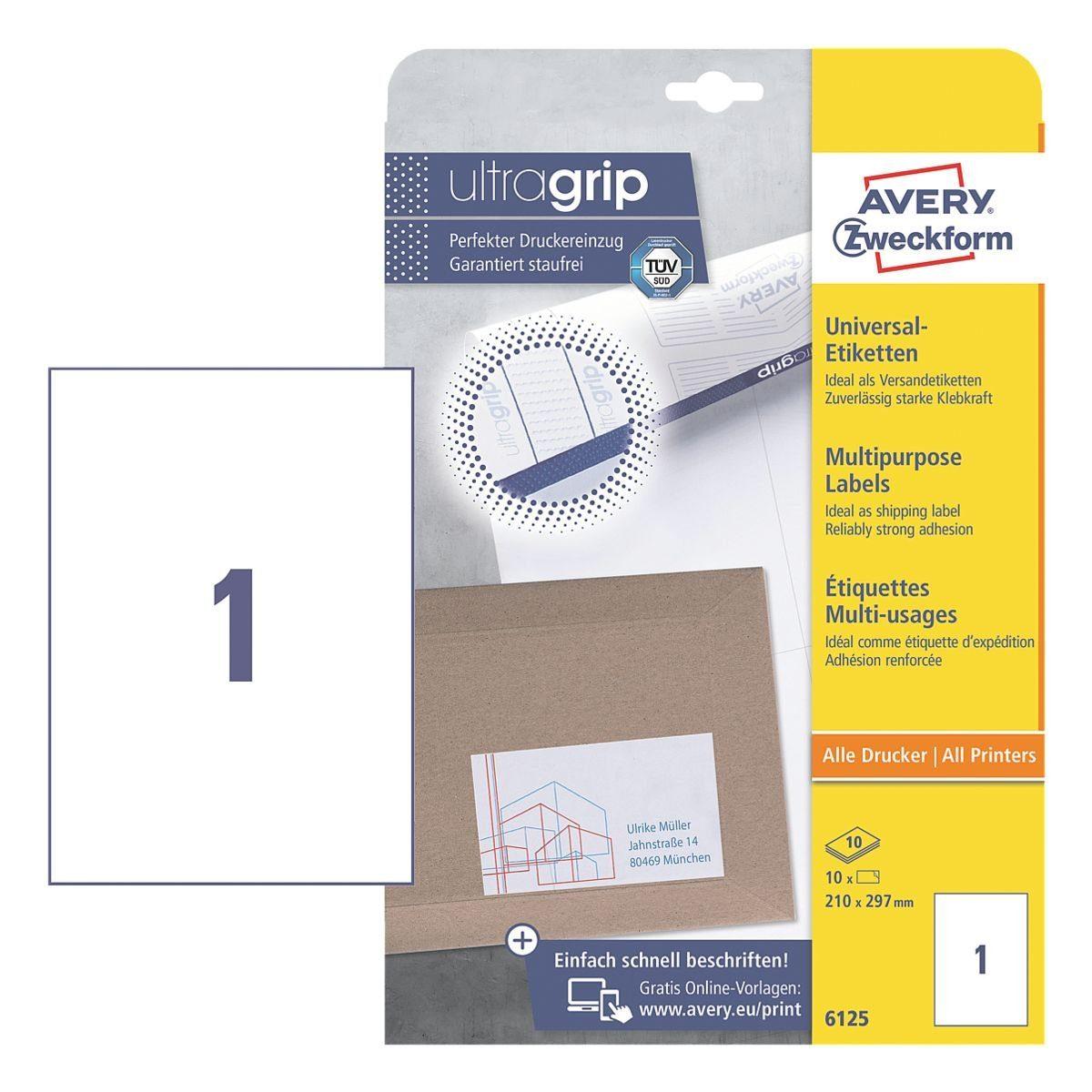 Avery Zweckform 10er-Pack Universal Klebeetiketten »6125«