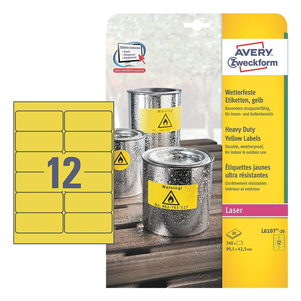 Avery Zweckform 240er-Pack Folien-Etiketten »L6107-20«