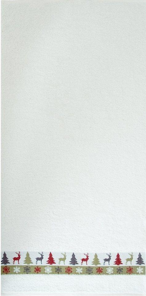 Handtuch Set, Dyckhoff, »Hirsch«, weihnachtliche Bordüre in ecru