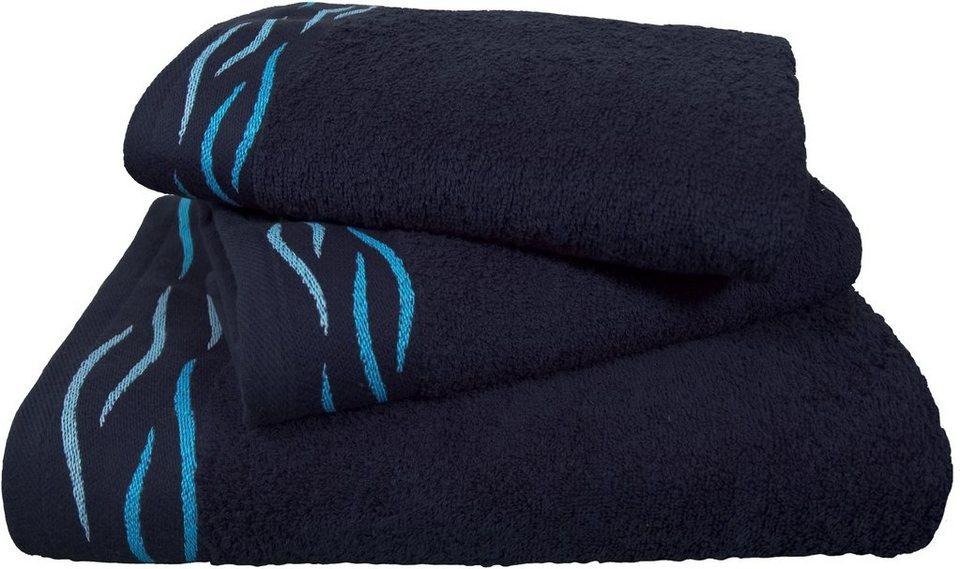 Handtuch Set, Dyckhoff, »Wave«, mit einer gewellten Bordüre in blau