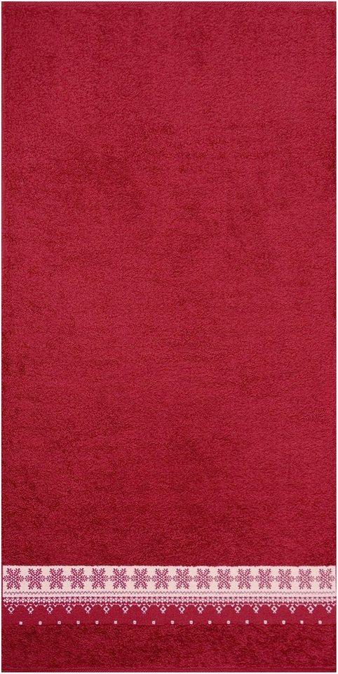 Handtücher, Dyckhoff, »Schneeflocke«, mit Bordüre in bordeaux