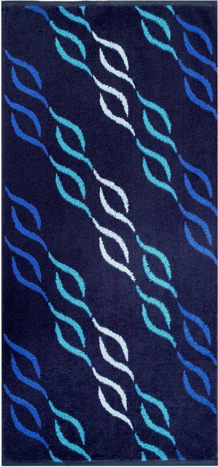 Badetuch, Dyckhoff, »Wave Jacquard«, mit Wellenmuster in blau
