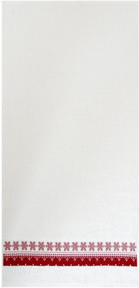 Badetuch, Dyckhoff, »Schneeflocke«, Schneeflockenbordüre in weiß