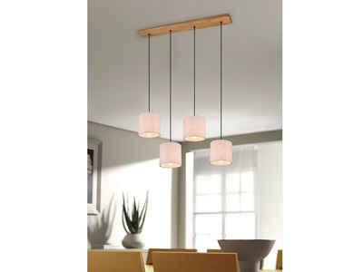 meineWunschleuchte LED Pendelleuchte, Balken-Pendel, Dimmbare Designer-Lampe, mehrflammig, Stoff Lampen-Schirm weiß, für über Esszimmer-Tisch, Esstisch, Küchen-Lampe hängend