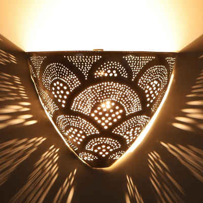 Casa Moro Wandleuchte »Casa Moro, Marokkanische Silber-Wandlampe Kenan, AWL930«