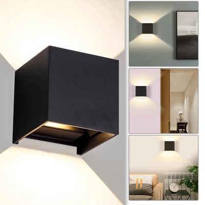 Einfeben LED Wandleuchte »LED Wandlampe Außen LED Wandstrahler Wandleuchte Wasserdicht Treppen Eingangsflur Modern Square IP65 Lampe 7W/12W«