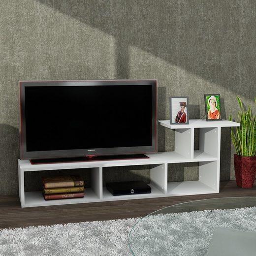 moebel17 TV-Regal »Tv Lowboard Sedrus Weiß«, mit 5 Ablagefächern