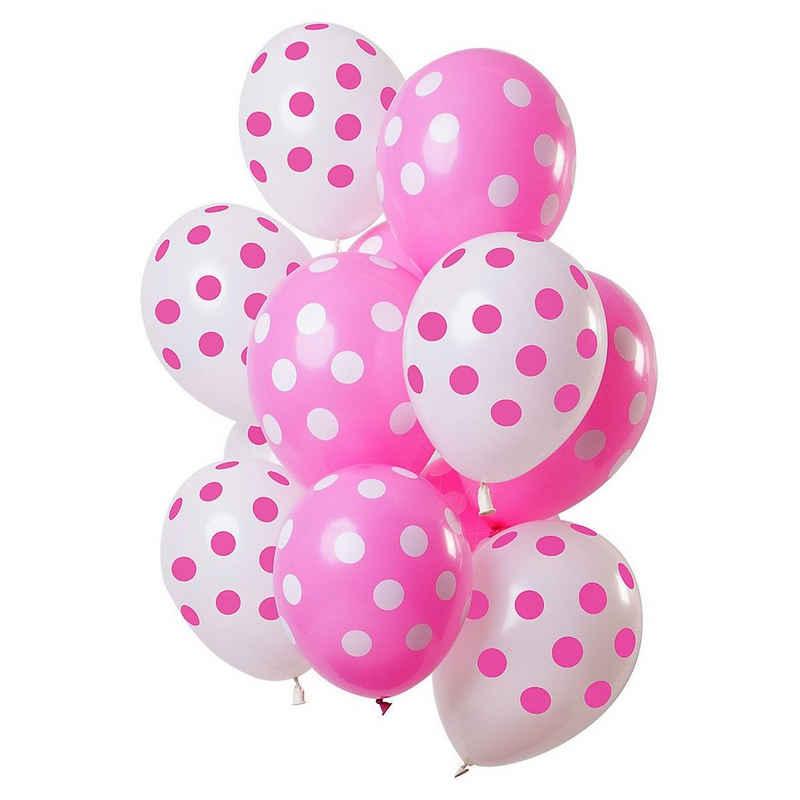 Folat Luftballon »Luftballons Punktmuster Pink-Weiß 30 cm, 12 Stück«