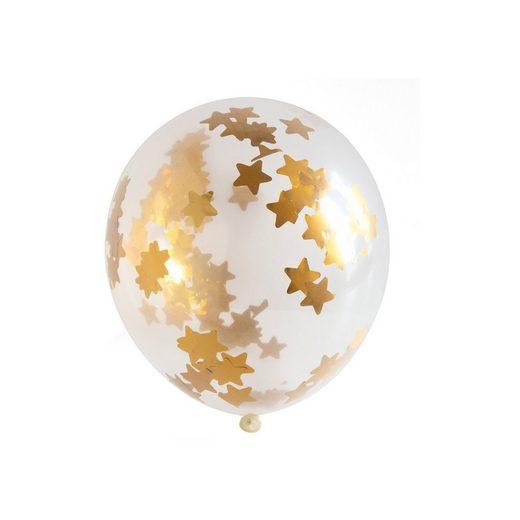 Folat Konfetti Ballon Sterne Gold, mit Quaste, 3 Stück