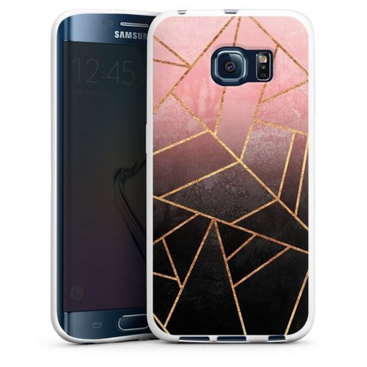 DeinDesign Handyhülle »Pink And Black Stone Gold Print« Samsung Galaxy S6 Edge, Hülle Farbverlauf Geometric Gold