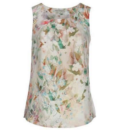 naturalmente Shirttop »naturalmente Leinen-Top modisches Damen Rundhals-Shirt Sommer-Shirt mit Allovermuster Bunt«