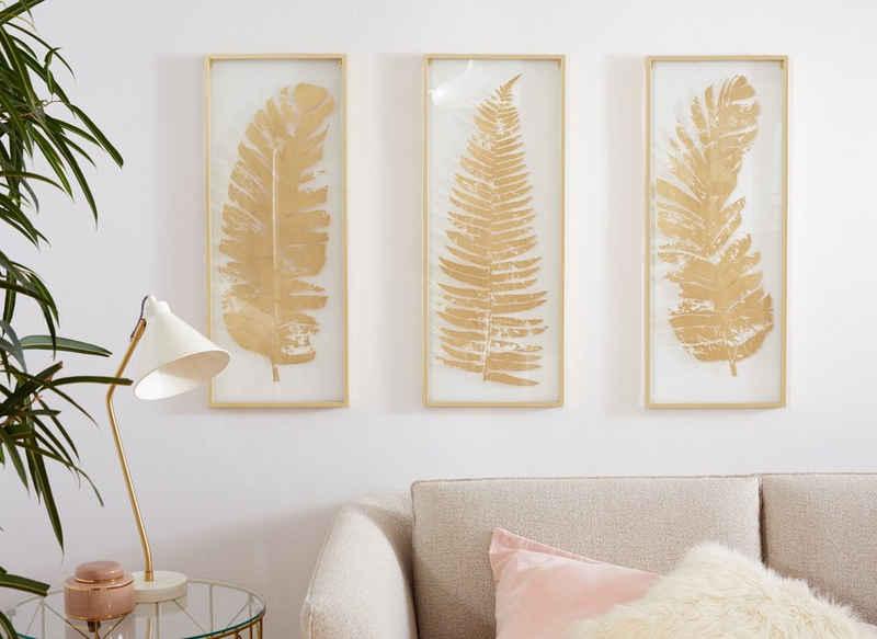 Leonique Wanddekoobjekt (Set, 3 Stück), Wanddeko, mit schönen Blatt-Motiven