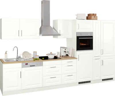 HELD MÖBEL Küchenzeile »Stockholm«, mit E-Geräten, Breite 370 cm, mit hochwertigen MDF Fronten im Landhaus-Stil