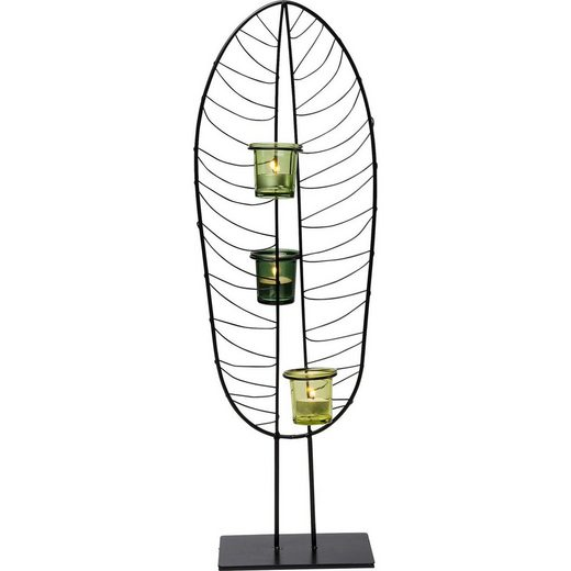 KARE Kerzenständer »Teelichthalter Leaf Wire 67cm«