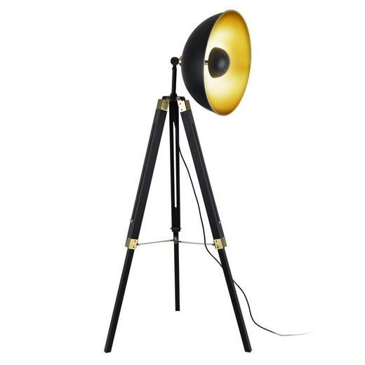 lux.pro Stehlampe, Stilvolle Stehleuchte »Ottawa« - schwarz mit goldener Innenseite - 1x E27
