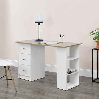 en.casa Schreibtisch, »Lemberg« mit Schubladen und Ablagen 120x50x72cm Weiß/Eiche