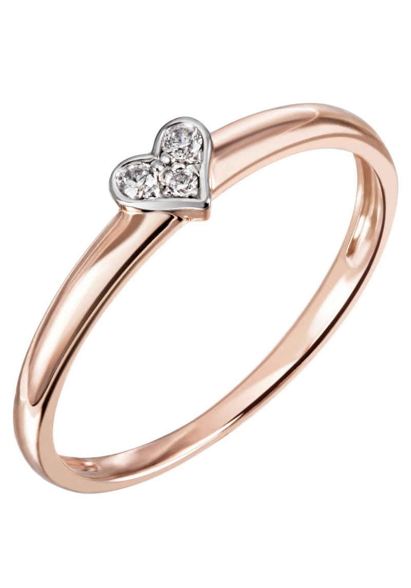 Firetti Diamantring »Herz, bicolor, glänzend, teilw. rhodiniert«, mit Brillanten