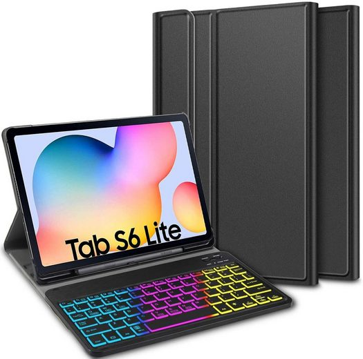 IVSO »Tastatur Keyboard Hülle für Samsung Galaxy Tab S6 Lite 10,4 Zoll (Deutsches QWERTZ)« Tablet-Tastatur (Hülle mit 7 Farben LED-Hintergrundbeleuchtung Kabellose Tastatur)