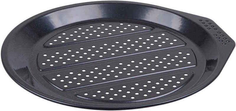 """CHG Pizzablech »PRIMA """"Emaille""""«, Emaille, (1-St), mit Lochung, hochwertig emailliert, Materialstärke 0,5 mm, schwarz gesprenkelt"""