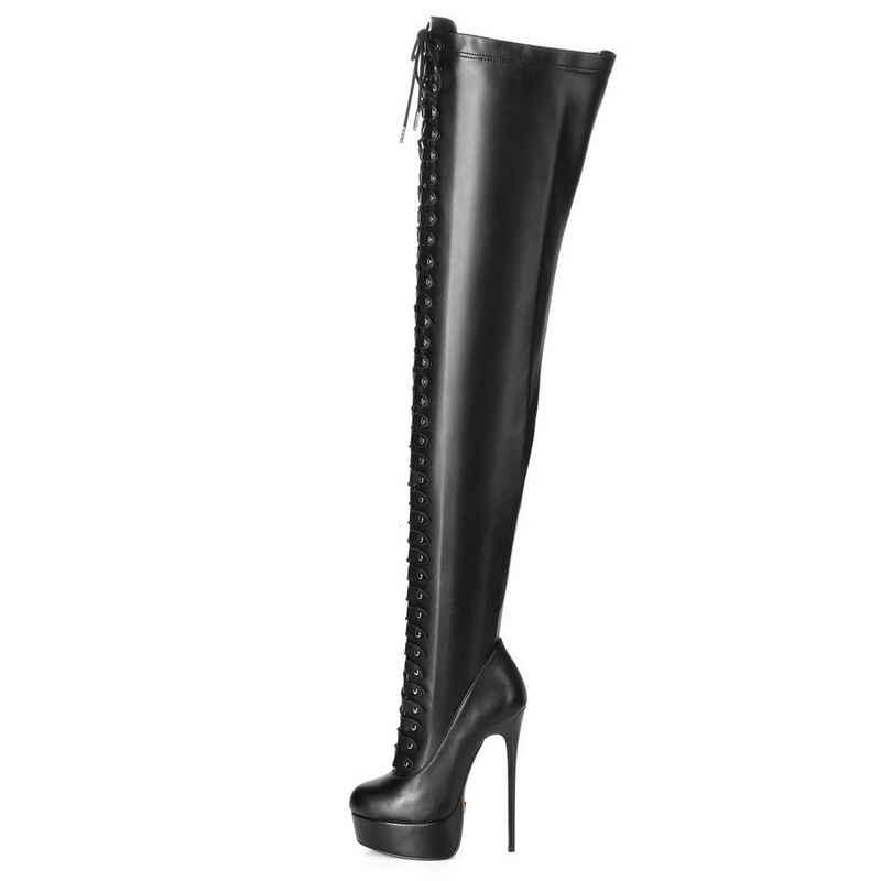 Giaro »Giaro MOUCHARD Schwarz Black Matte Stiefel Kniestiefel Lederstiefel« Overkneestiefel Vegan