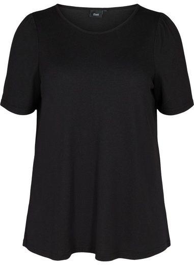 Zizzi Kurzarmbluse Große Größen Damen Kurzarm Bluse mit Puffärmeln und Rundhals