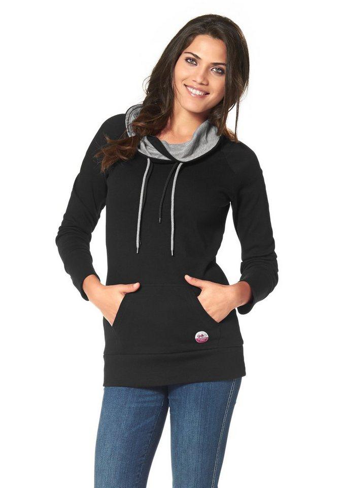 Flashlights Sweatshirt mit kontrastfarbigem Kragen in schwarz