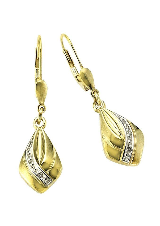 "Vivance Jewels Ohrschmuck: Paar Ohrhänger ""Tropfen"" mit Diamanten"