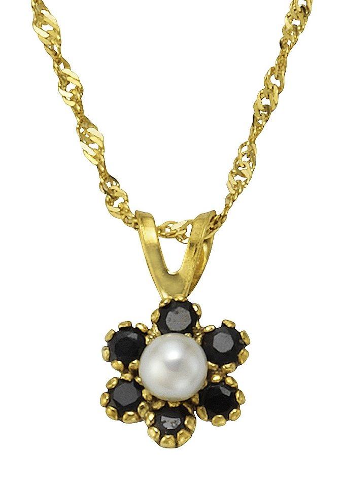 Vivance Jewels Halsschmuck: Halskette in Singapurkettengliederung mit Perle und Saphiren in goldfarben