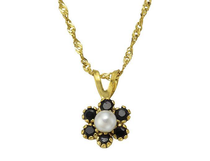 Vivance Jewels Halsschmuck: Halskette in Singapurkettengliederung mit Perle und Saphiren