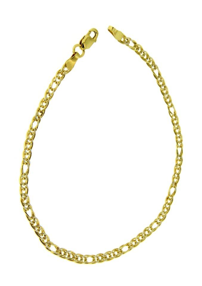 firetti Armschmuck: Armband in Fantasie-Figarokettengliederung, 2-fach diamantiert in Gold 375