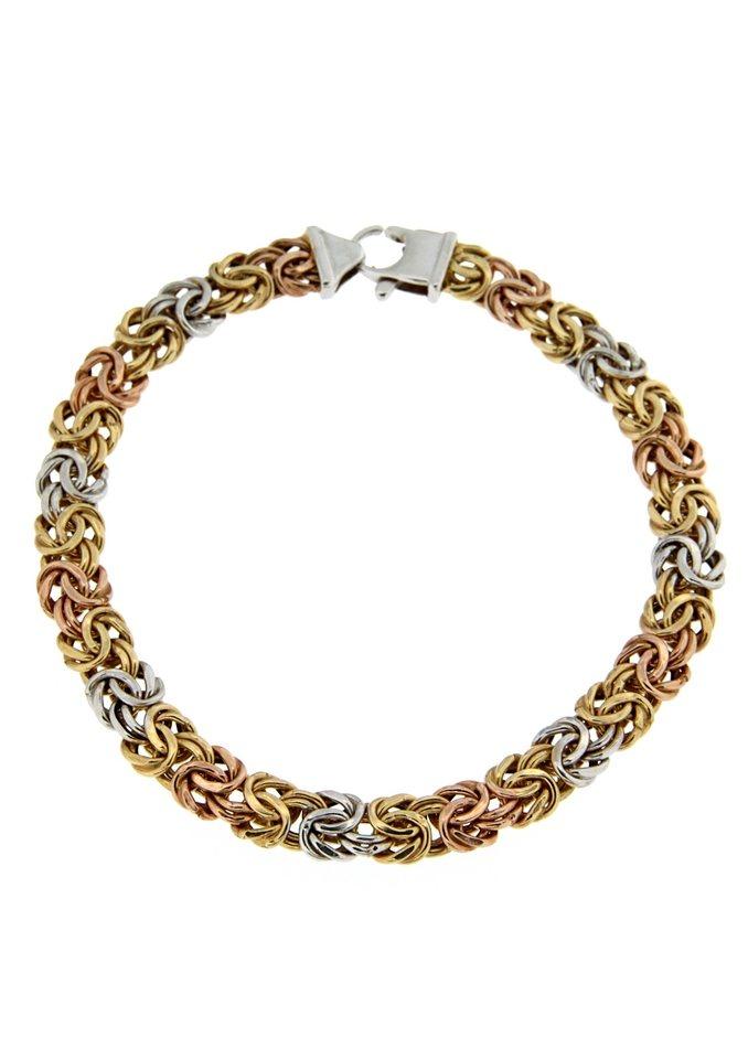 firetti Armschmuck: Armband in Königskettengliederung, Tricolor-Optik in Gold 375/tricolor