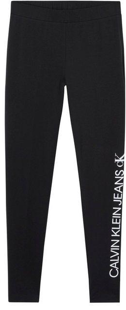 Hosen - Calvin Klein Jeans Leggings »MIRRORED LOGO LEGGING« mit gespiegeltem Calvin Klein Jeans Logo Schriftzug auf dem linken Bein ›  - Onlineshop OTTO