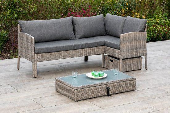 MERXX Gartenmöbelset »Viletta«, (3-tlg), Ecksofa, höhenverstellbarer Tisch, mit Box