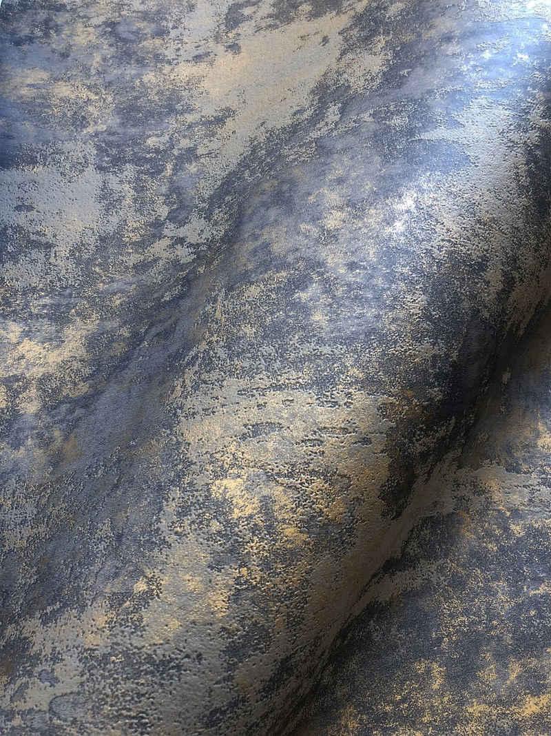 Newroom Vliestapete, Tapete, Dunkelblau, Beton, Blau Tapete Wohnzimmer Flur Wallpaper Vlies
