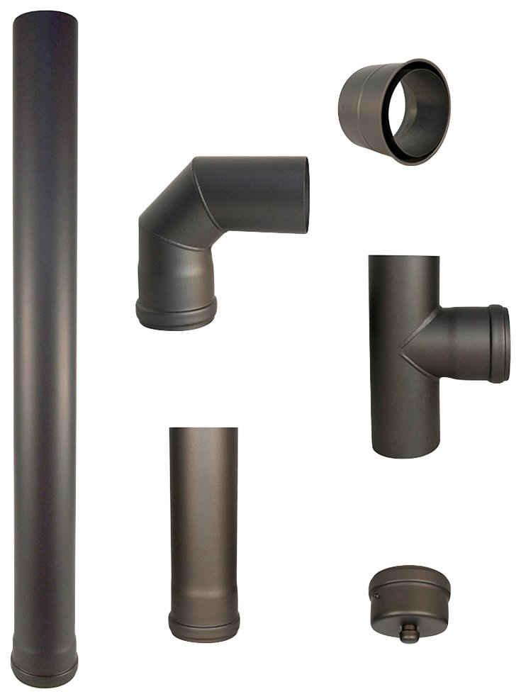 Heathus Ofenrohr, (Set, 6-tlg), 80 mm, für Pelletöfen, 100 cm, grau