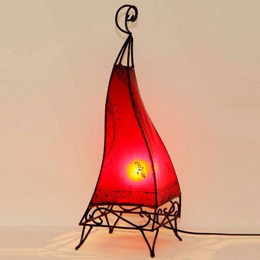 Casa Moro Stehlampe »Orientalische Hennalampe marokkanische Stehlampe Ibis H60 cm Rot, Kunsthandwerk aus Marrakesch, Handbemalte Lederlampe handgefertigte Hennaleuchte aus echtem Leder, L1010«