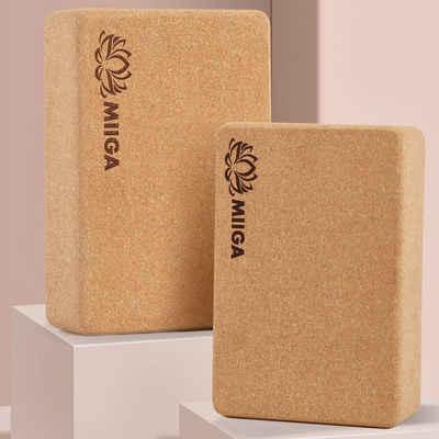 MIIGA Yogablock, 2er-Set, Natur-Kork, wabendichte Material-Struktur, biologisch abbaubar, formstabil, umweltfreundlich, angenehmes Gefühl auf der Haut